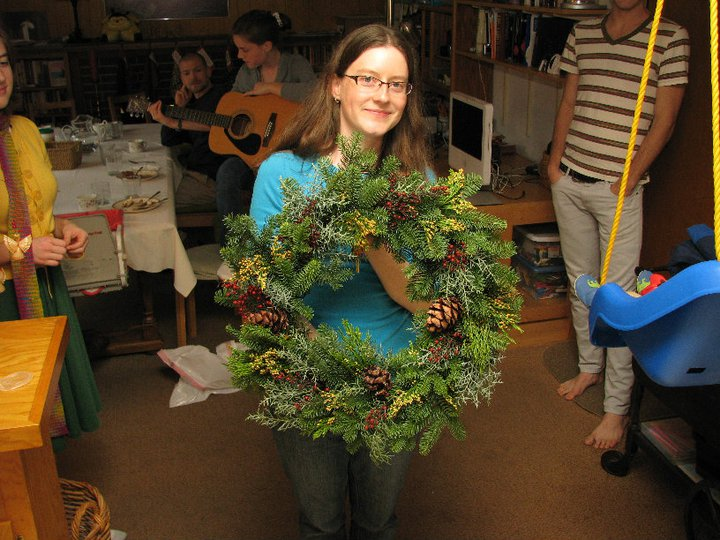 I made a wreath for my Mom, at Bloomers Nursery in Eugene.